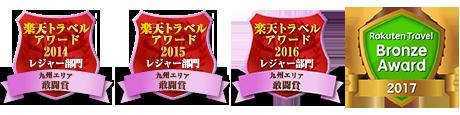 楽天トラベルアワード2014 九州エリア レジャー部門 敢闘賞